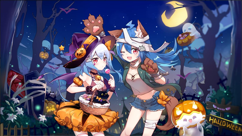 animal animal_ears bili_bili_douga bili_girl_22 bili_girl_33 cat flot halloween