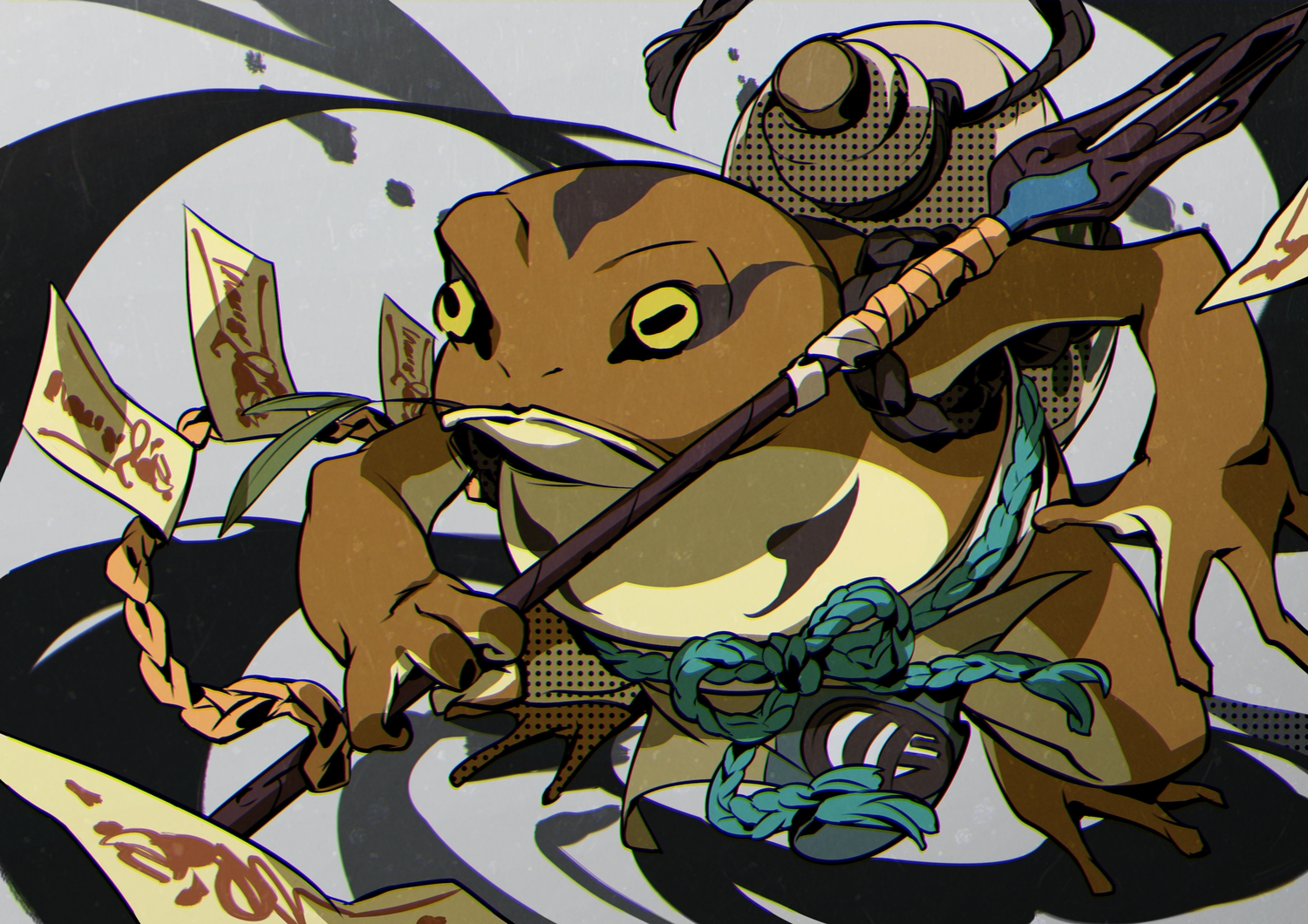 animal drink frog japanese_clothes lee_hyeseung nobody ofuda original rope spear weapon