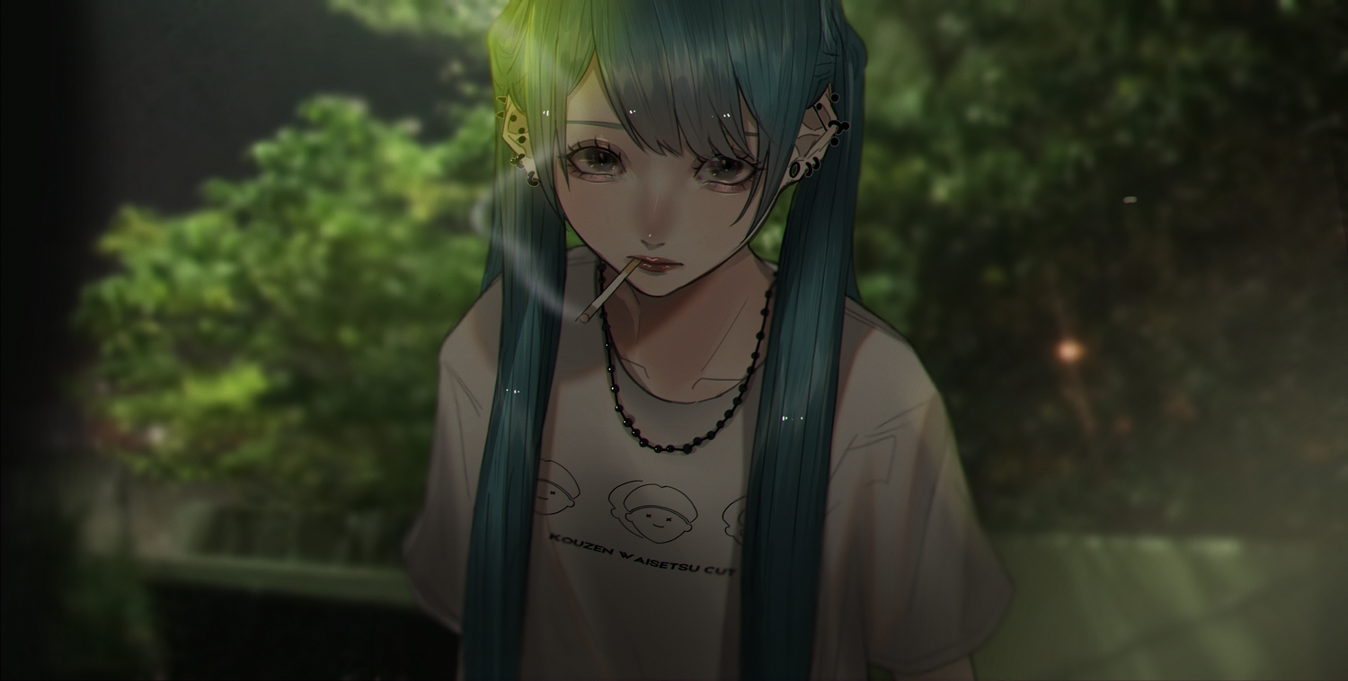 aqua_hair black_eyes cigarette dark hatsune_miku leaves long_hair mano_aaa necklace smoking tree twintails vocaloid