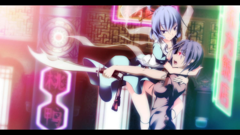 2girls dress kaku_seiga miyako_yoshika sakurame sword touhou weapon