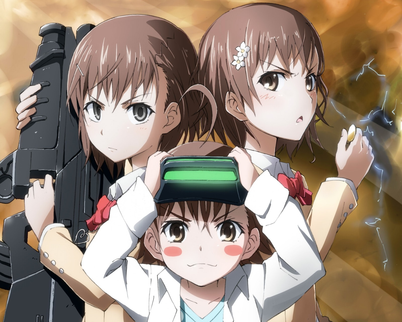 brown_eyes brown_hair delf goggles gray_eyes group gun last_order misaka_imouto misaka_mikoto short_hair to_aru_kagaku_no_railgun to_aru_majutsu_no_index weapon