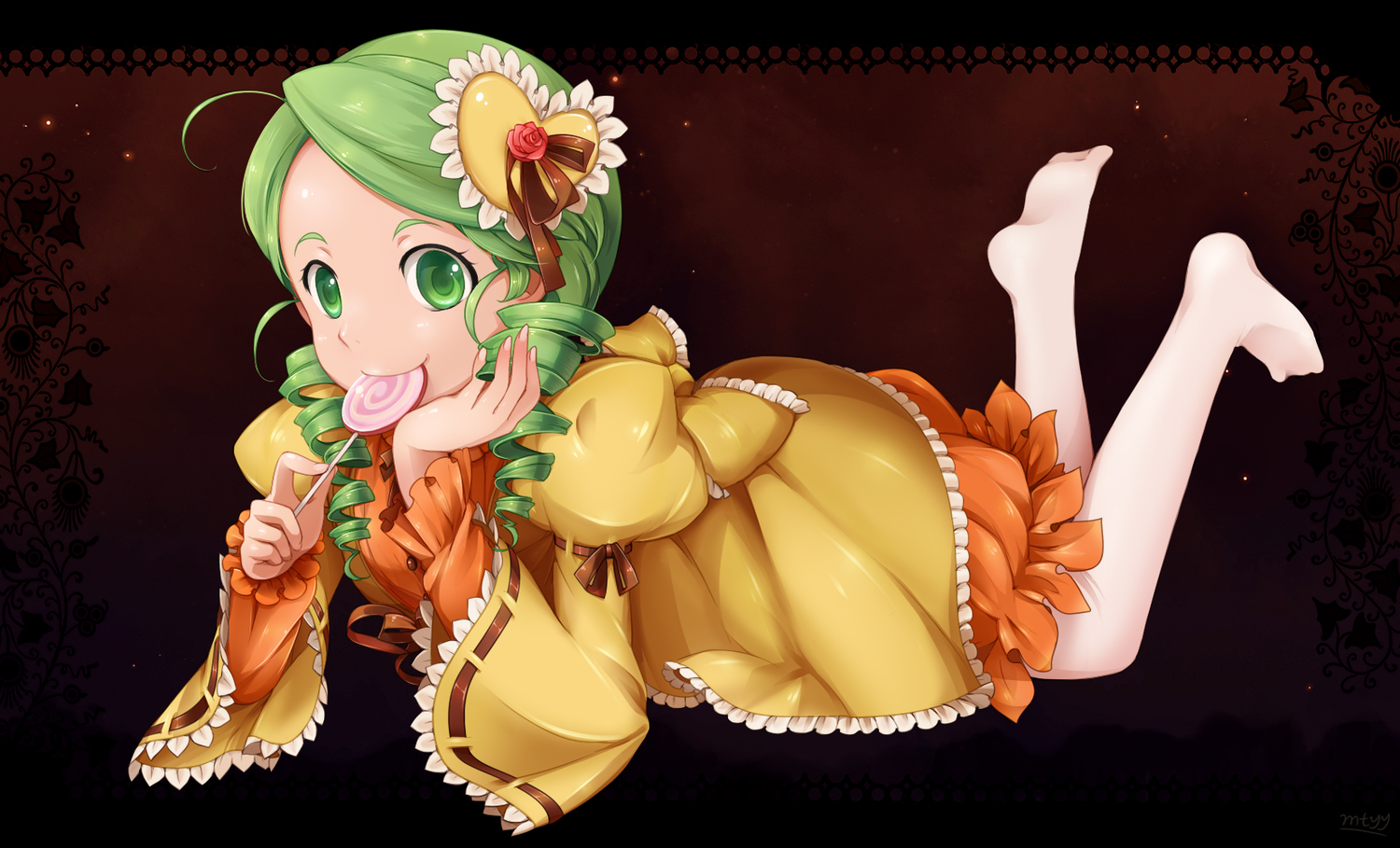candy dress green_eyes green_hair kanaria lollipop mtyy rozen_maiden