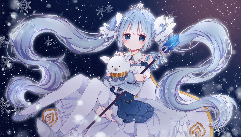 blue blue_eyes blue_hair dress gradient hatsune_miku llatteowo long_hair snow staff thighhighs tiara twintails vocaloid yuki_miku yukine_(vocaloid)