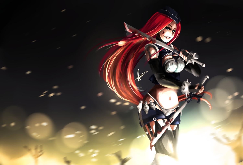 Blood Katarina League Of Legends Red Hair Weapon Konachan Com