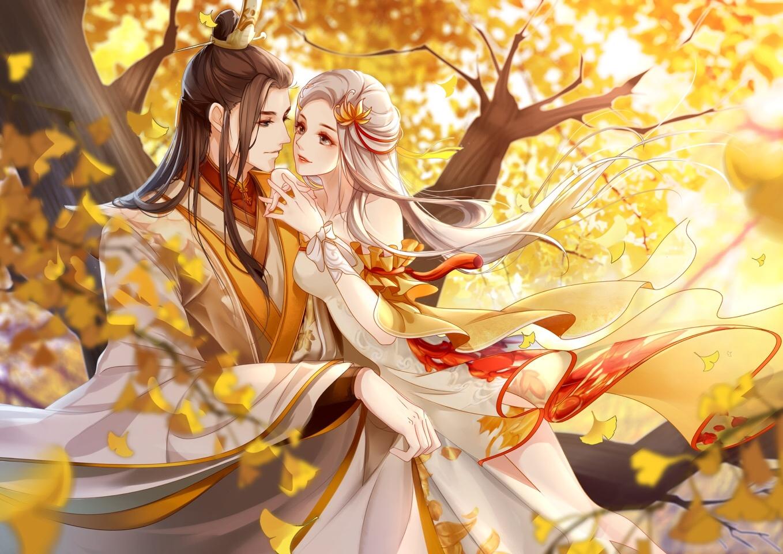 autumn blonde_hair bow brown_hair clouble dress leaves long_hair male onmyouji tree