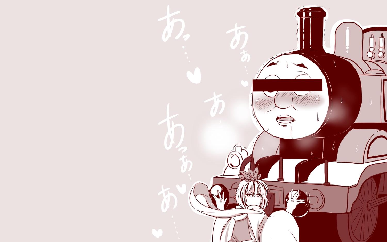 amazon_(taitaitaira) blush japanese_clothes monochrome pink thomas_the_tank_engine thomas_the_tank_engine_(character) toramaru_shou touhou train