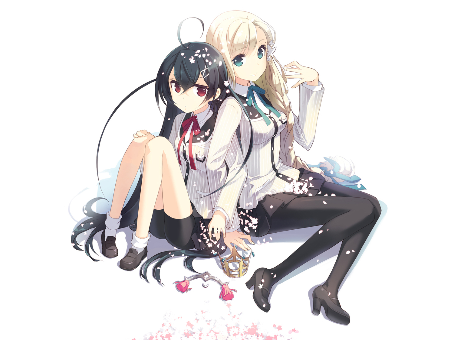 2girls black_hair blonde_hair green_eyes h2so4 long_hair pantyhose petals red_eyes seifuku white