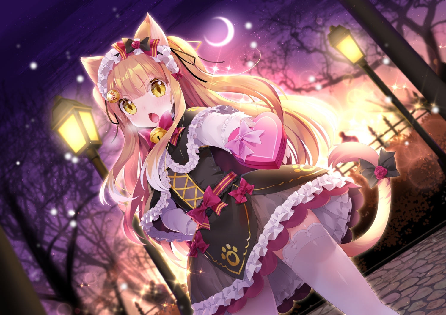 animal_ears bell blonde_hair blush bow clouds fang garter_belt goth-loli headdress loli lolita_fashion long_hair mimikko_ui moon mvv night sky stars stockings tail thighhighs tree twintails valentine winter yellow_eyes