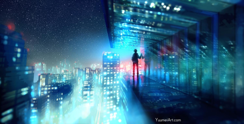 all_male building city fisheye_placebo frey_(fisheye_placebo) male night reflection scenic sky stars watermark wenqing_yan_(yuumei_art)