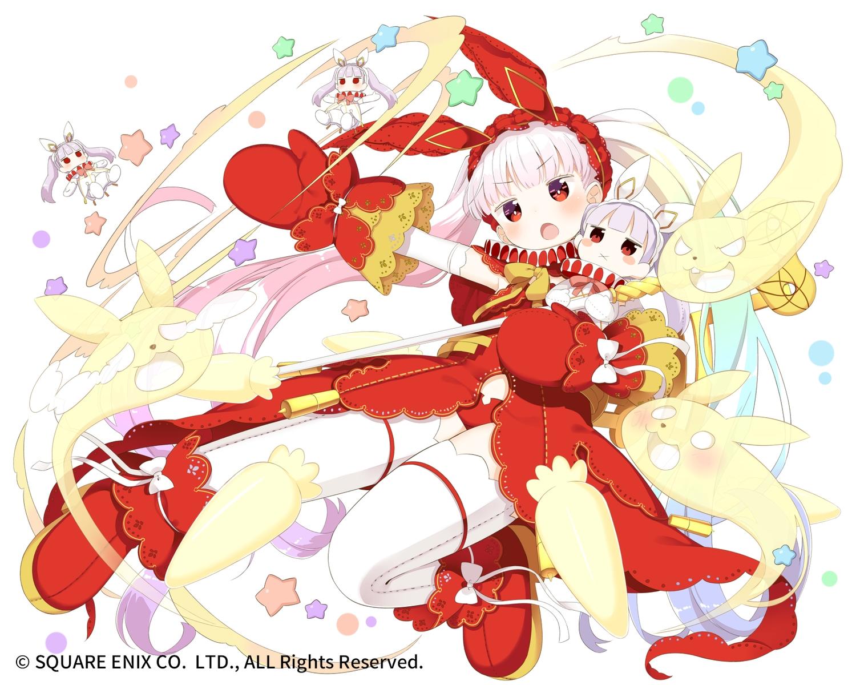 animal_ears bow bunny_ears bunnygirl elbow_gloves gloves kaku-san-sei_million_arthur loli long_hair muku-coffee panties pink_hair red_eyes ribbons square_enix thighhighs uathach underwear