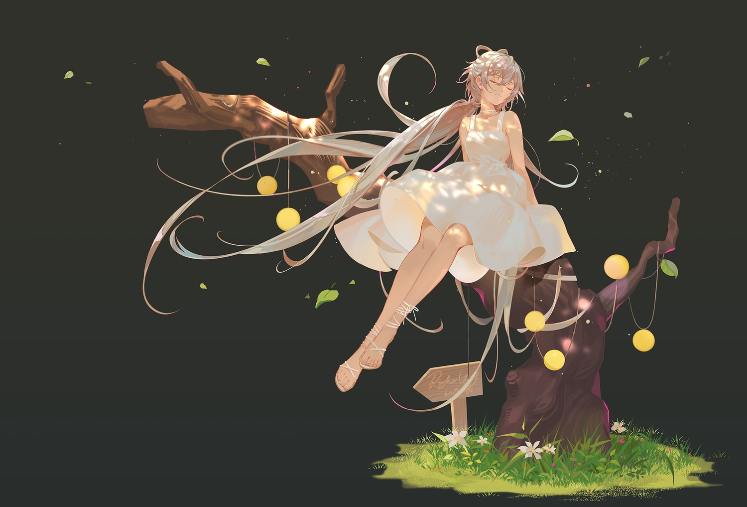 black brown_hair dress flowers gradient grass gray long_hair luo_tianyi summer_dress tidsean tree twintails vocaloid vsinger