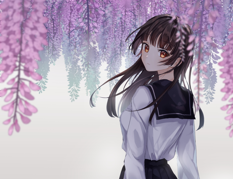brown_eyes brown_hair connie_(keean2019) cropped flowers long_hair original school_uniform skirt