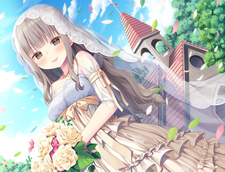 asa_no_ha blush bow brown_eyes building cross dress flowers gray_hair headdress necklace original petals ribbons tree wedding_attire