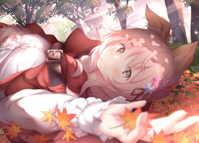 animal_ears autumn blush brown_eyes cape chiisana_mori_no_ookami-chan forest hoodie leaves ookami-chan pink_hair tree ukiwakisen wolfgirl