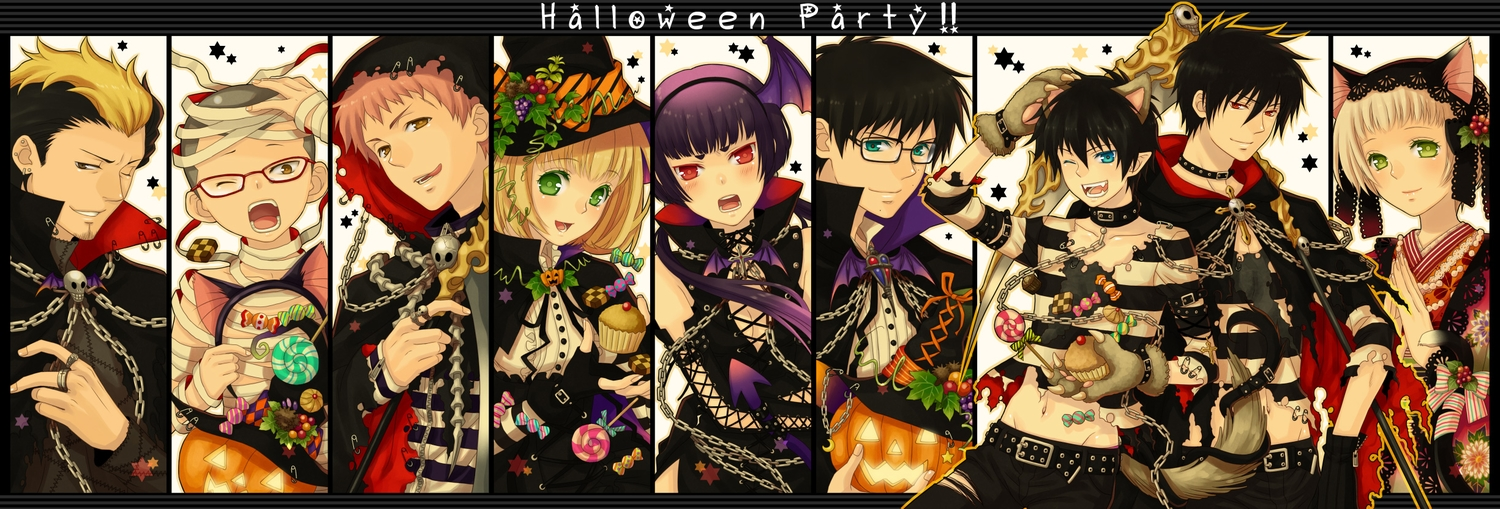 animal_ears ao_no_exorcist bandage black_hair blonde_hair blue_eyes blush cake candy catboy catgirl chain collar dualscreen food glasses gloves green_eyes group halloween hat headband headdress kamiki_izumo lollipop miwa_konekomaru miyama-uguisu_monaka moriyama_shiemi navel okumura_rin okumura_yukio pink_hair pumpkin purple_hair red_eyes shima_renzou short_hair suguro_ryuji tail torn_clothes wink witch_hat yellow_eyes yoru_(ao_no_exorcist) yuuno_(yukioka)