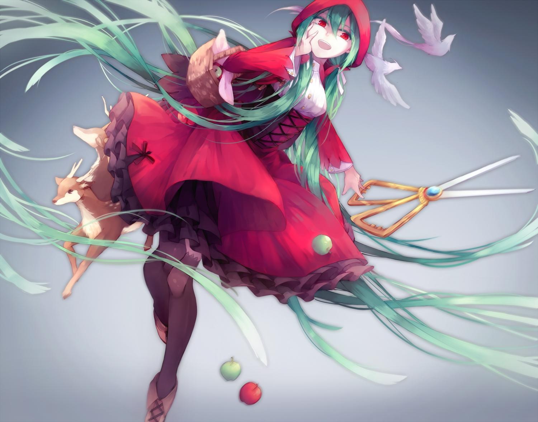 animal aqua_hair bird dress hatsune_miku little_red_riding_hood long_hair lyodi red_eyes vocaloid