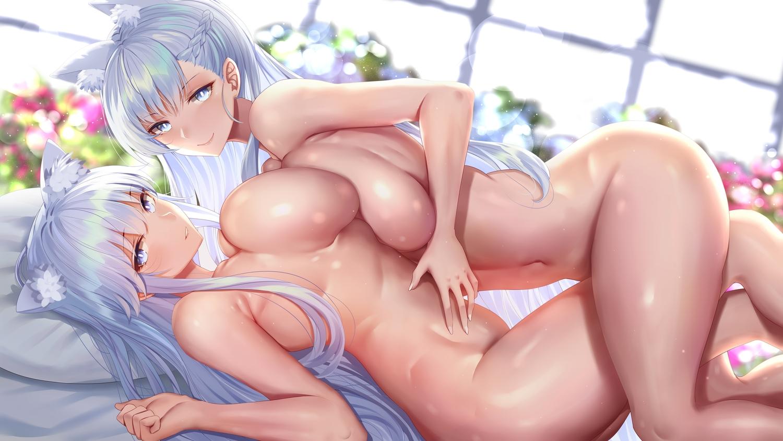 2girls animal_ears anthropomorphism azur_lane bed belfast_(azur_lane) blue_eyes blush braids breasts enterprise_(azur_lane) gray_hair long_hair navel nude piukute062 yuri