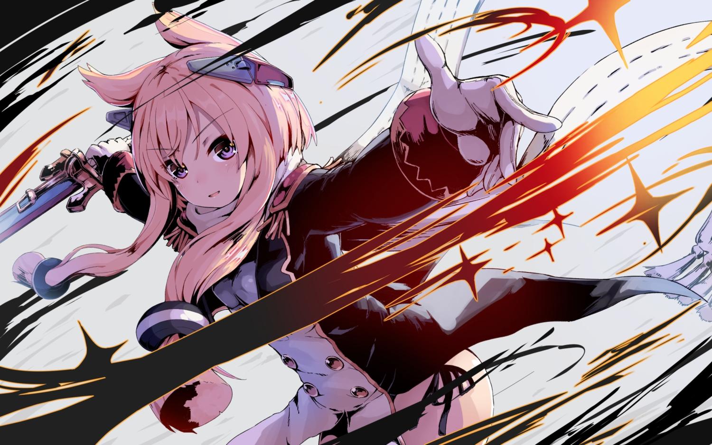 animal_ears anthropomorphism azur_lane dress gloves long_hair neme1228 pink_hair purple_eyes ribbons sword warspite_(azur_lane) weapon