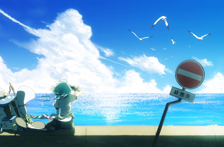animal aqua_hair arashi_asuka bird clouds frog hat hinanawi_tenshi scenic short_hair sky touhou water