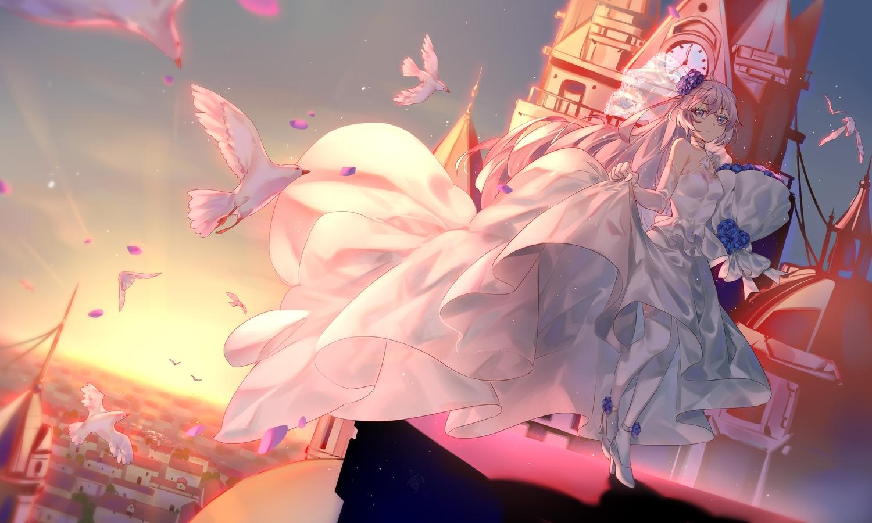 aliasing animal bird bronya_zaychik building city dress ginklaga gray_hair honkai_impact long_hair sky sunset wedding_attire