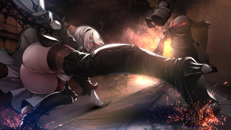 aqua_eyes ass boots headband nier nier:_automata robot skirt_lift sword torisan weapon white_hair yorha_unit_no._2_type_b