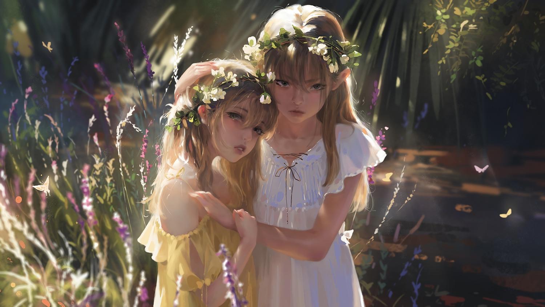 2girls blonde_hair blue_eyes butterfly dress flowers forest g-tz headdress hug loli long_hair original realistic summer_dress tree