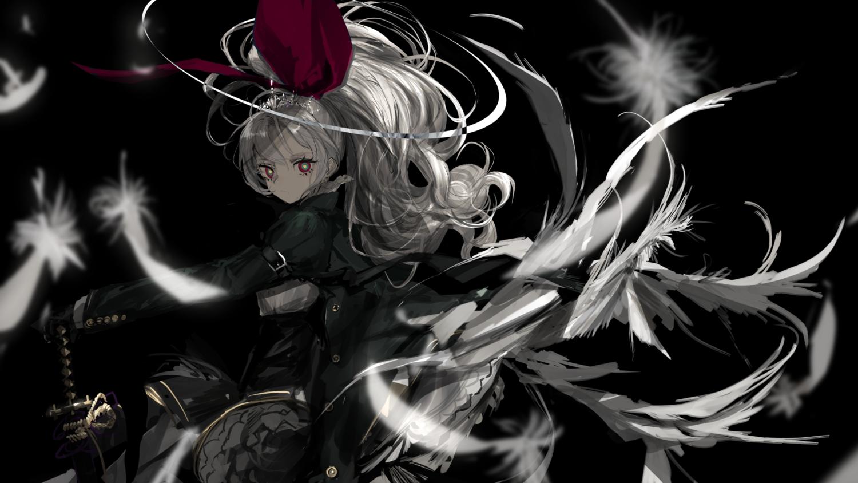 aliasing black feathers gloves goth-loli gray_hair katana lolita_fashion long_hair naruwe original polychromatic ponytail red_eyes sword tiara weapon wings