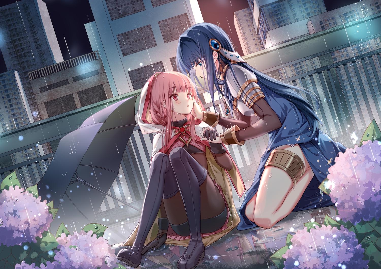 clouble flowers long_hair magia_record:_mahou_shoujo_madoka_magica_gaiden mahou_shoujo_madoka_magica nanami_yachiyo rain shoujo_ai tamaki_iroha umbrella water
