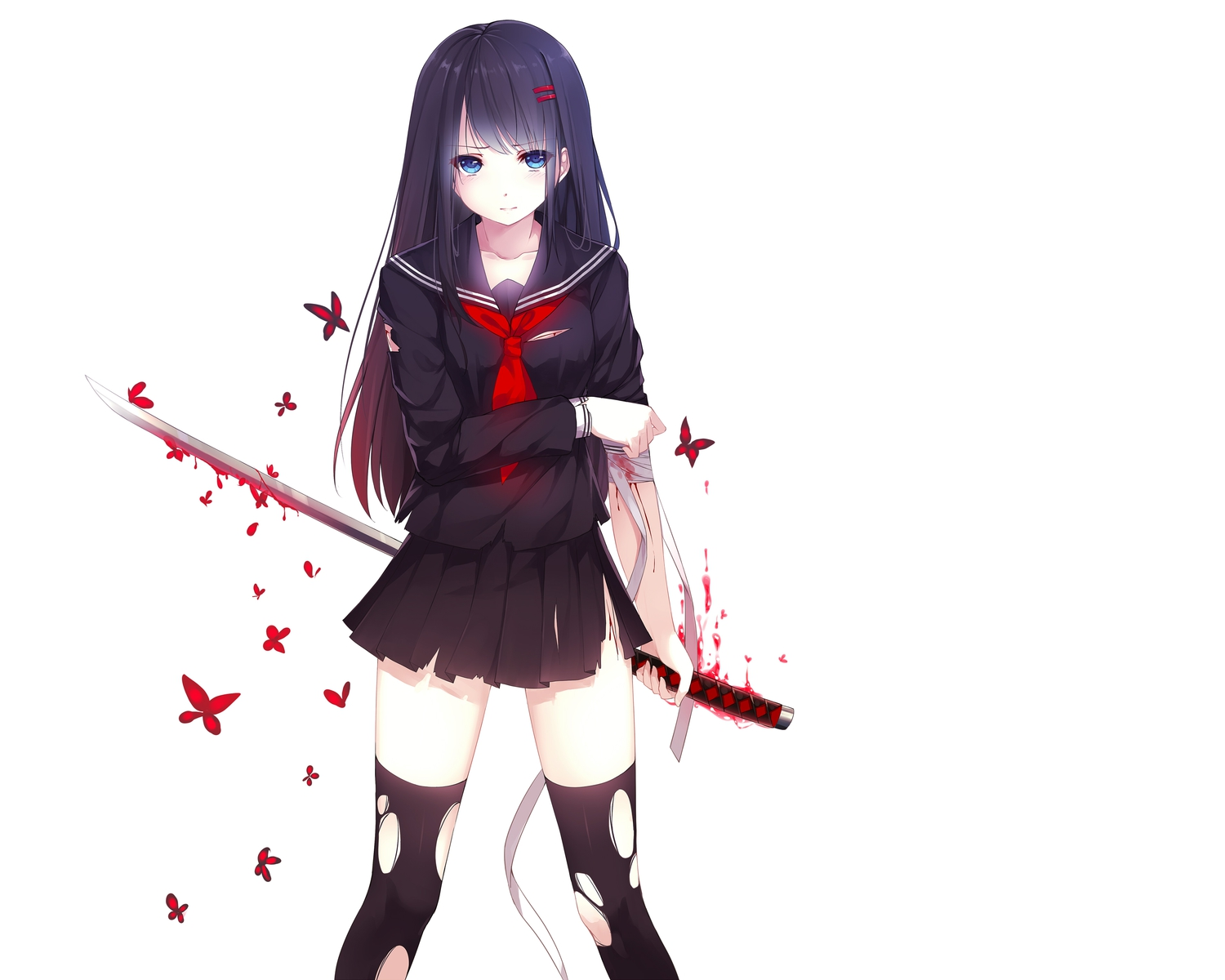 Anime girl with black hair and sword