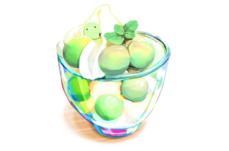 animal bird chai_(artist) food fruit ice_cream nobody original polychromatic signed white