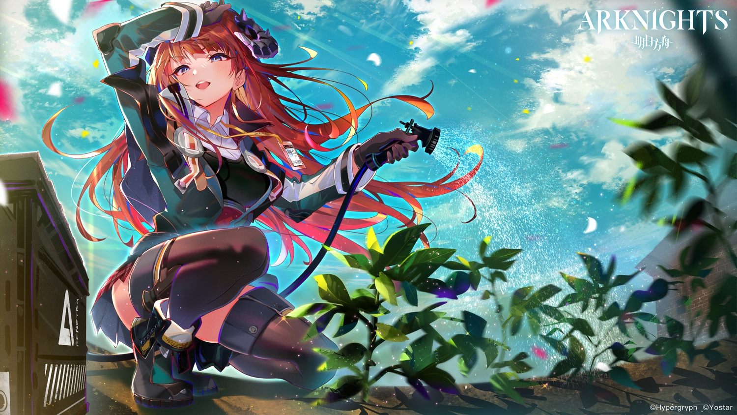 arknights aruterra bagpipe_(arknights) blue_eyes blush boots clouds gloves horns leaves logo long_hair red_hair sky thighhighs water zettai_ryouiki