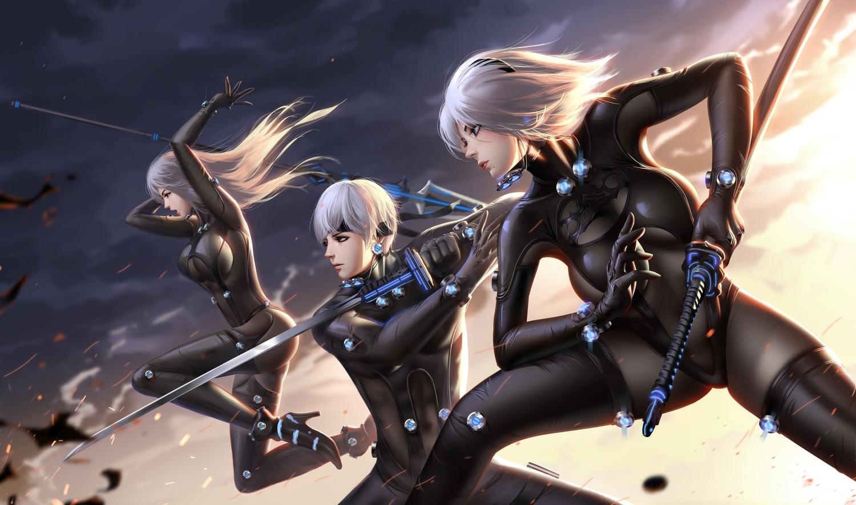 blue_eyes bodysuit breasts cosplay gantz gloves gray_hair katana liang_xing long_hair male nier nier:_automata short_hair spear sword thighhighs weapon yorha_unit_no._2_type_a yorha_unit_no._2_type_b yorha_unit_no._9_type_s