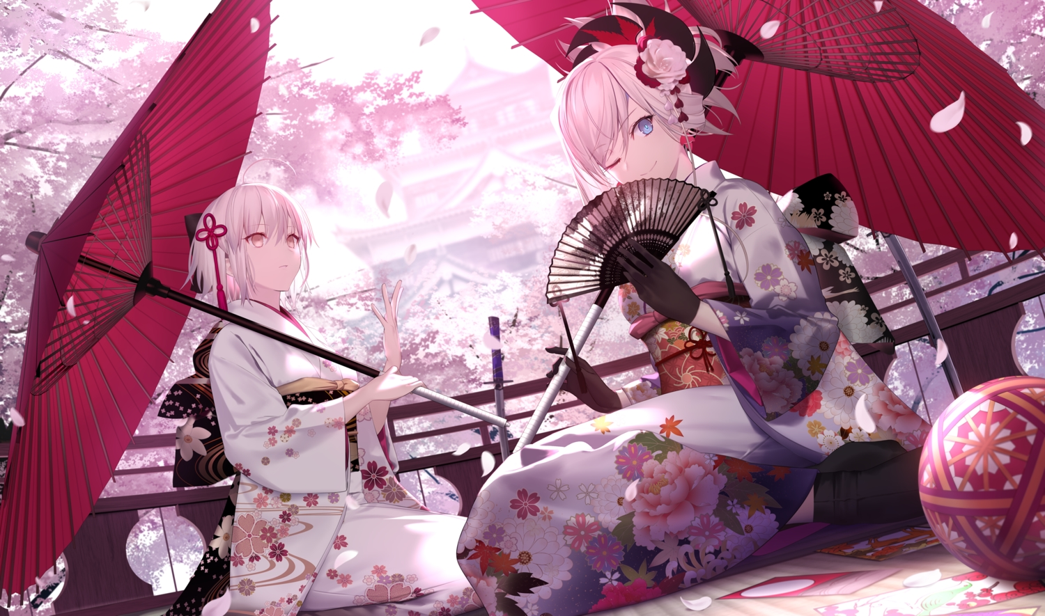 Fate Grand Order Fate Series Flowers Japanese Clothes Miyamoto
