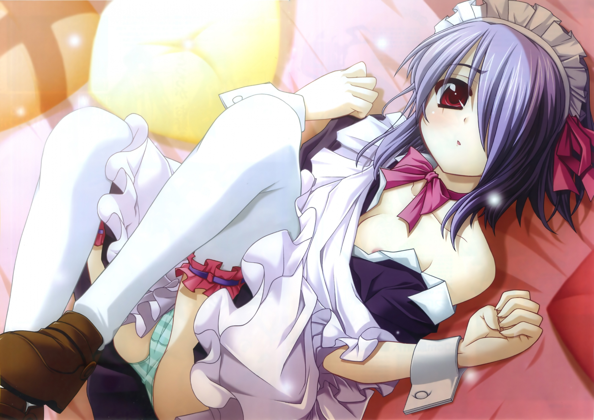 bed blue_hair blush cameltoe furifuri maid open_shirt panties red_eyes sensui_iko short_hair striped_panties thighhighs tsukuyomi_kaguya underwear