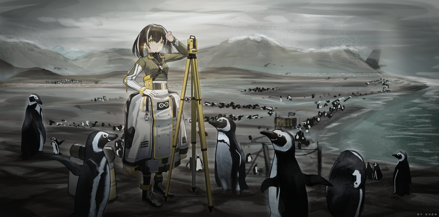 animal arknights even_(even_yiwen) magallan_(arknights) penguin watermark