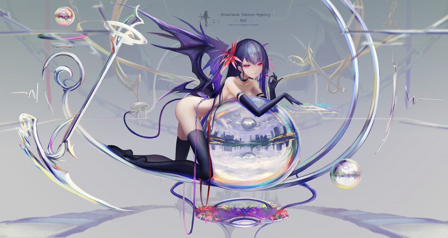 ball blue_hair bubbles candy elbow_gloves gloves hc jpeg_artifacts lollipop nude original red_eyes reflection tail thighhighs wings