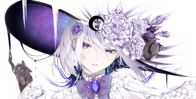bow close flowers gloves hat original polychromatic purple_eyes urotare white_hair