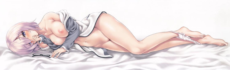 barefoot breasts dualscreen fate/grand_order fate_(series) glasses kure_masahiro mash_kyrielight navel nipples no_bra open_shirt panties panty_pull pink_hair purple_eyes scan short_hair underwear