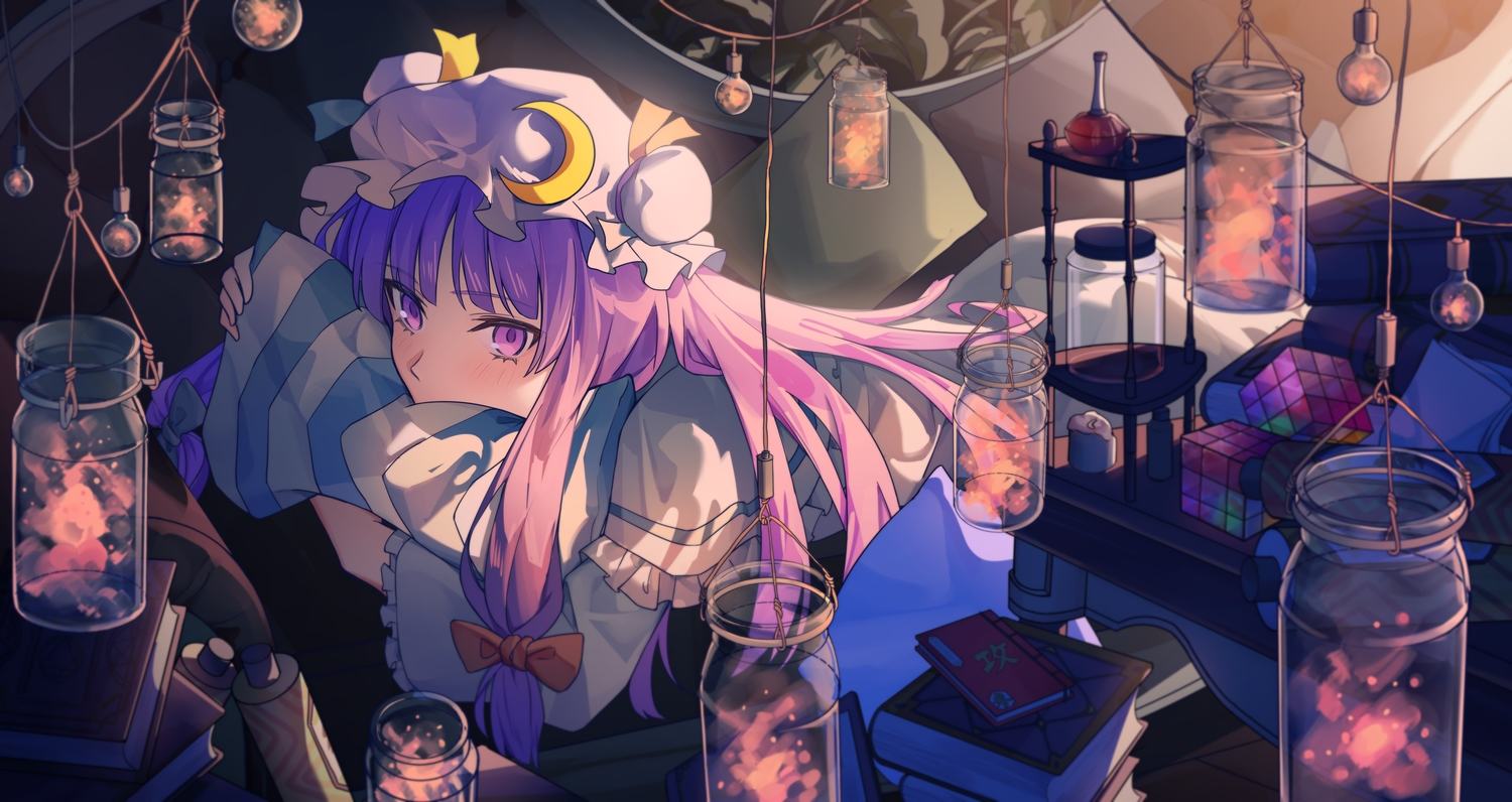 book long_hair patchouli_knowledge purple_eyes purple_hair ribbons touhou twintails yangsan_(2991076090)