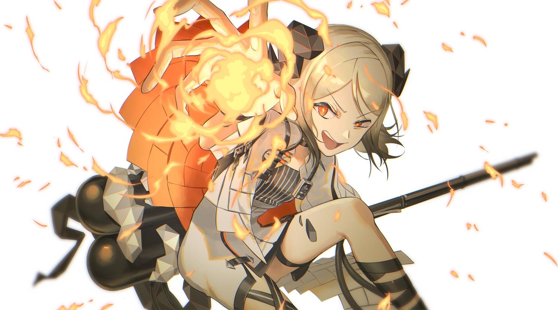 arknights brown_hair fire horns ifrit_(arknights) makkuro orange_eyes short_hair