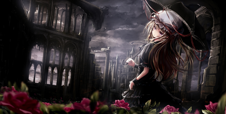 apple228 building dress flowers hat rose ruins touhou umbrella wristwear yakumo_yukari