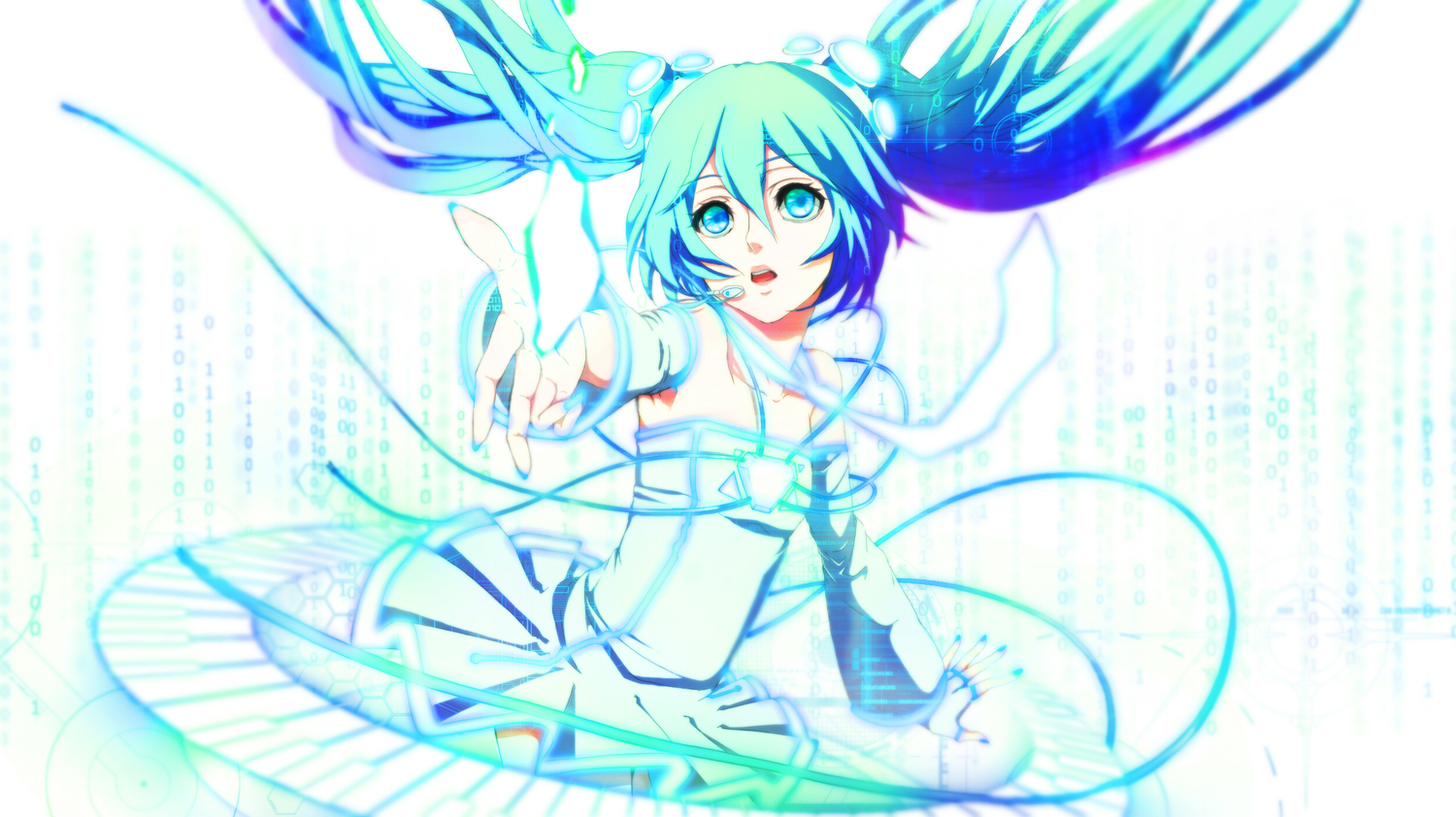 aqua_eyes aqua_hair blue_eyes blue_hair dress hatsune_miku long_hair rinko_(jaunebrillant) twintails vocaloid