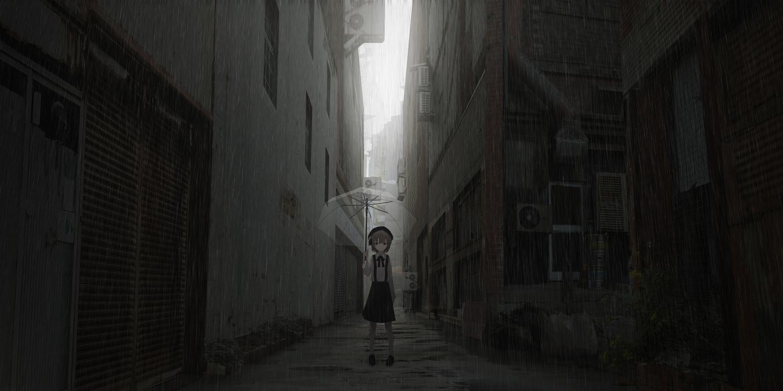 asteroid_ill brown_eyes brown_hair building city dark hat hatoba_tsugu hatoba_tsugu_(channel) loli rain shirt skirt sky umbrella water
