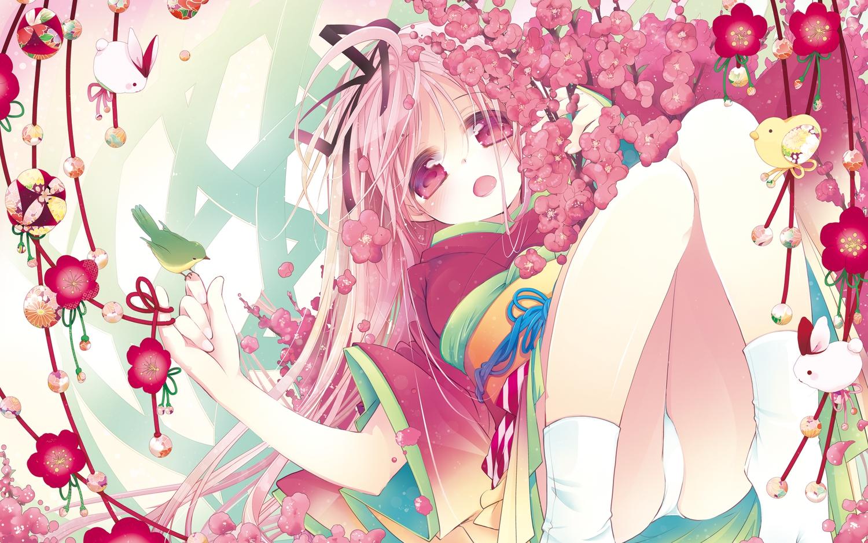 cuffs_(studio) flowers garden_(galge) himemiya_ruri japanese_clothes kimono mitaonsya panties pink_hair red_eyes underwear