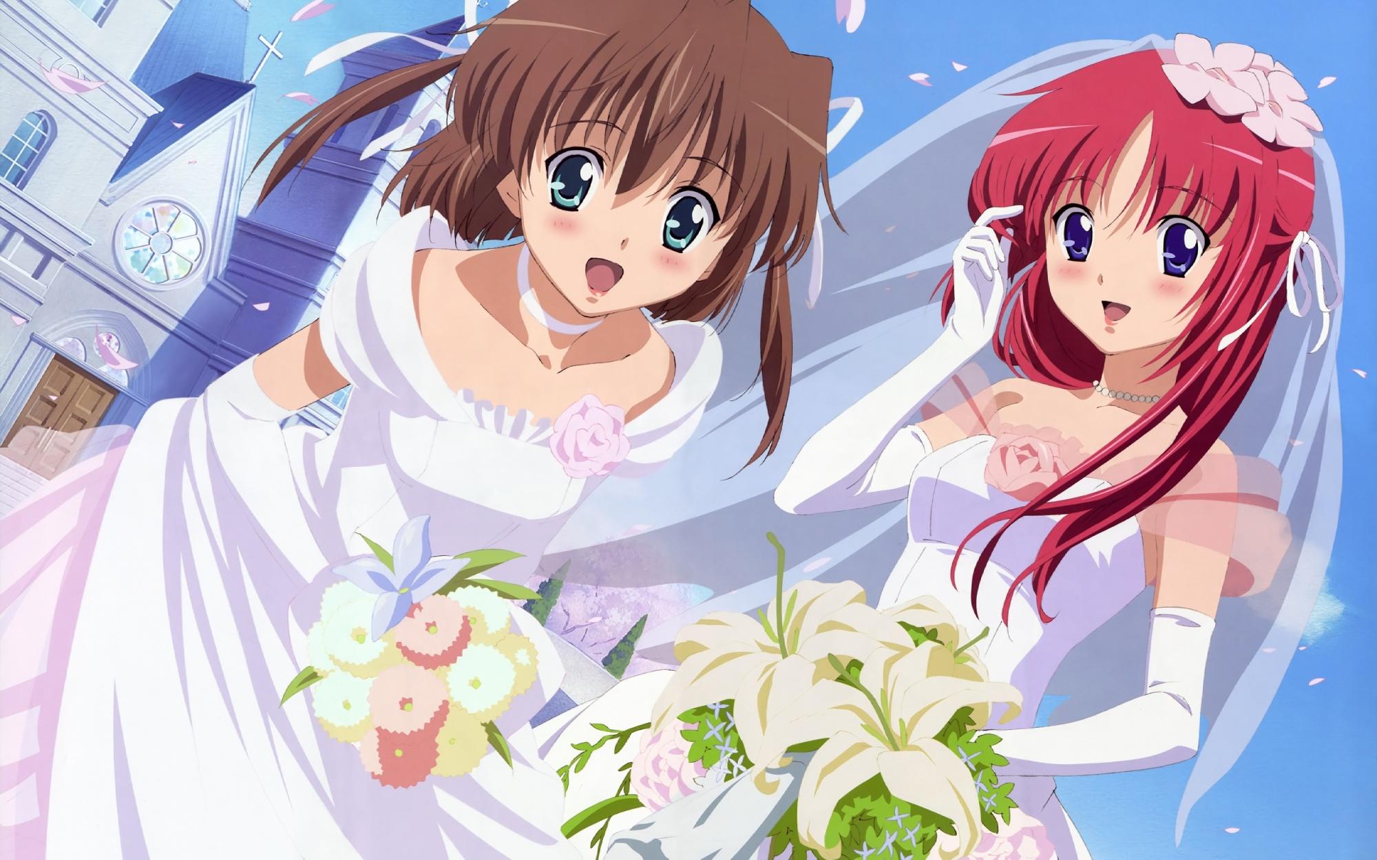 2girls asakura_nemu da_capo shirakawa_kotori wedding wedding_attire
