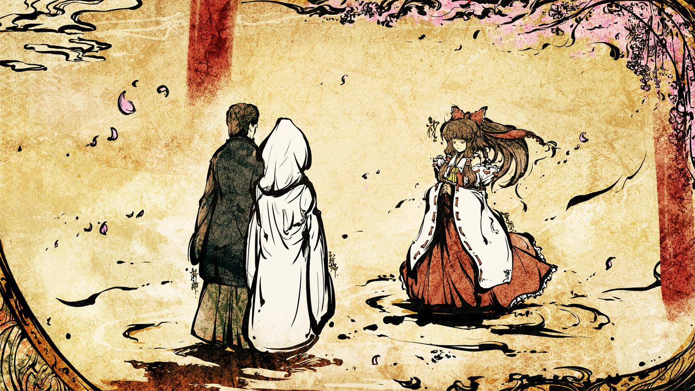bow brown_eyes brown_hair cherry_blossoms dress flowers hakurei_reimu japanese_clothes kimono male miko petals short_hair skirt tokiame touhou wedding wedding_attire