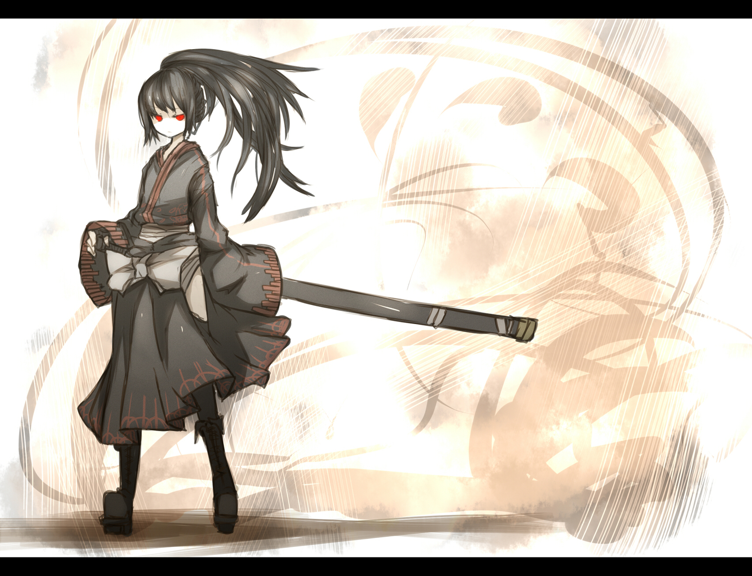 black_hair japanese_clothes katana kimono long_hair ponytail red_eyes shiroganeusagi sword weapon