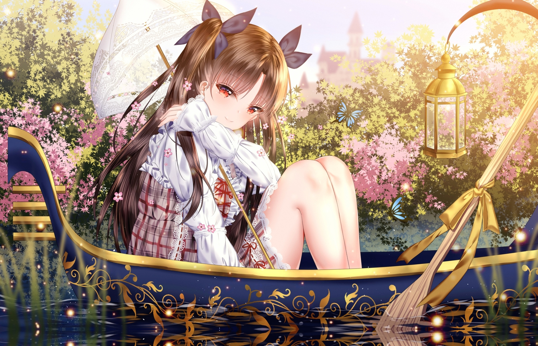 boat brown_hair butterfly dress fate/grand_order fate_(series) flowers ishtar_(fate/grand_order) jpeg_artifacts junpaku_karen lolita_fashion long_hair red_eyes umbrella water