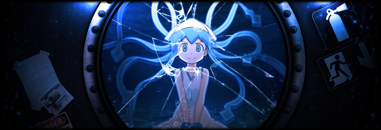 blue_hair bubbles dualscreen hat ikamusume loli long_hair shinryaku!_ikamusume tentacles third-party_edit underwater water