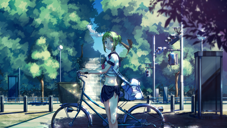 bicycle blue_eyes green_hair gumi no.734 school_uniform short_hair skirt tree vocaloid